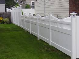 Vinyl solid picket fence Panels 48u2033 Infinity With Saturn Scallop Picket Top Vinyl Fence 72u2033 Infinity Solid Privacy Fence In Rear Liberty Fence Railing Pvc Fences Gates Double Virgin Vinyl Fencing Liberty Fence