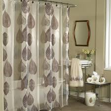elegant and classy white gray water drop bed bath and beyond shower curtain design with sheer model and curved rod aside freestanding vanity beneath wooden framed wall mirror and metal glass tabl