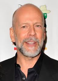 Bruce Willis  - 2018 Bald hair & slick hair style.