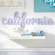 california wood word decor pottery