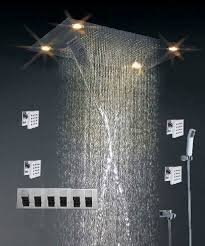 china high end color changing ceiling mounted rain shower head with jet square