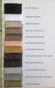 Taupe Color Chart Viscose Color Chart