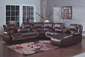 4 pc brown bonded leather sectional sofa with recliners and chaise inside decor 3
