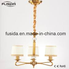 arabian bronze chandelier lights with white and gold fabric shade d 6017 3