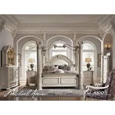 aico bedroom furniture. monte carlo ii canopy poster bedroom set silver pearl aico furniture