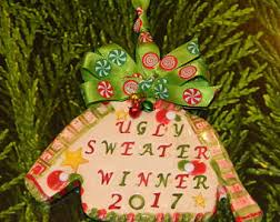 the office christmas ornaments. Ugly Sweater Winner 2017 Contest Party Christmas Ceramic Ornament Award Awful Office Tacky The Ornaments C