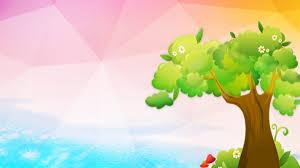 Ppt Backgorund Cartoon Green Tree Grass Ppt Background