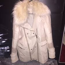 river island cream leather jacket size 12 rrp 85
