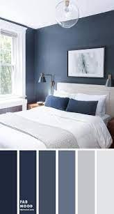 dark blue and light grey bedroom color