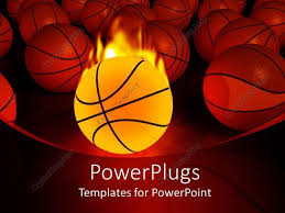 Basketball Powerpoint Template Powerpoint Template Burning Basketball Ball And Multiple