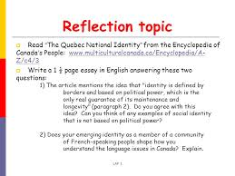 language awareness forum language and identity ppt reflection topic the quebec national identity from the encyclopedia of s people