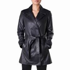 theo ash classic leather trench coat women s leather jacket india