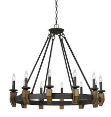 60w x 12 cruz metal wood chandelier