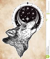 Drawn Wolf Decocrative Hand Drawn Wolf Howling At Moon Stock Vector