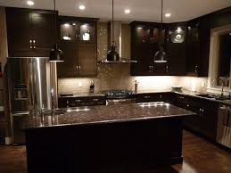 Black Granite Countertops With Tile Backsplash Delectable Black Kitchen Cabinets With Black Countertops For The Home
