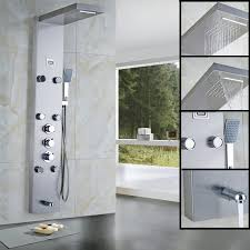 golden bathroom shower column faucet wall: rain waterfall shower panel pc massage jets thermostatic shower faucet with hand shower tub spout tower