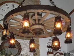 chd large wagon wheel chandelier with lanterns