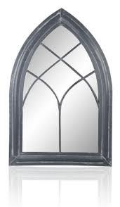 gothic wooden window arch garden mirror