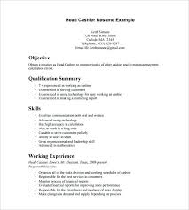 Teller Job Resume Sample Head Cashier Resume Template Bank Of ...