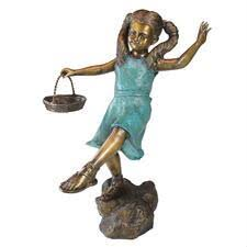 bronze garden statues. brittany with a basket, little girl cast bronze garden statue statues