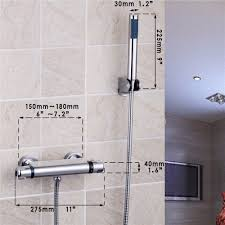 Aliexpresscom Bad Regen Dusche Wand Montiert Armaturen Set Edelstahl Top Spray Mit Abs Hand Dusche Thermostat Brausesatz Von Verlässlichen Faucet