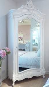 white wood wardrobe armoire shabby chic bedroom. In ❤Chateau White Mirrored Armoire : Beau Decor French / Shabby Chic Style Wood Wardrobe Bedroom B