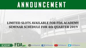 Limited Slots Available For Fda Academy Seminar Schedule For