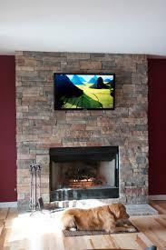 stone veneer fireplace wood