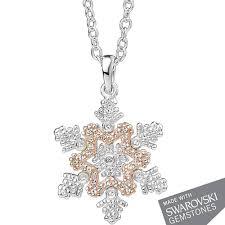 clogau snowflake swarovski topaz pendant necklace 3ssfp t h baker family jewellers
