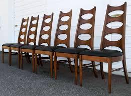 mid century modern walnut black vinyl dining chairs