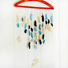 stitched fabric feather mobile