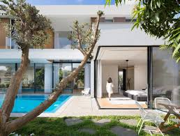 A Shaped House Design L Shaped House Designed To Have The Park With Eucalyptus