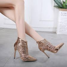 Woman <b>Sexy Gold</b> Gladiator Pumps <b>Pointed Toe</b> Leather Hollow ...