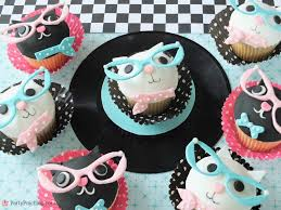 cool cupcakes. Delighful Cupcakes Cool Cat Cupcakes Eye Glasses Fifties 50u0027s Theme Party  Cupcake Ideas For Cool Cupcakes E