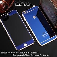 iphone 5 5s 6 6plus color full mirror tempered glass screen protector