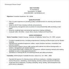 Chronological Resume Example New Chronological Resume Example Custodian Supervisor Chronological