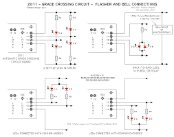 grade crossing circuit the circuit s output can also drive small incandescent lamps connected in the same general arrangements as shown for the leds