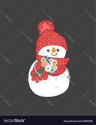 Holidays Snowman Winter Holidays Snowman Cheerful Snowmen In Diffe Vector Image