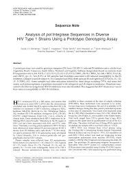 PDF) Analysis of pol Integrase Sequences in Diverse HIV Type 1 Strains  Using a Prototype Genotyping Assay
