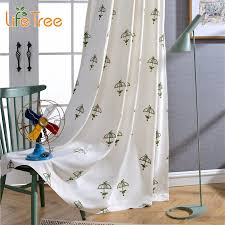 pink green umbrella embroidered linen curtains for kids boys girls bedroom modern window ds custom made in curtains from home garden on aliexpress com