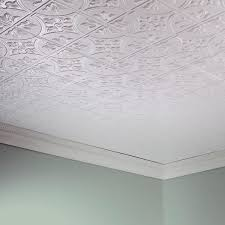 fasade traditional style 2 matte white 2 x 4 glue up ceiling