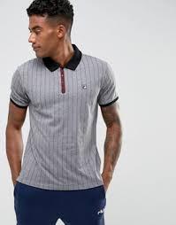 fila vintage polo. fila vintage striped polo shirt in grey