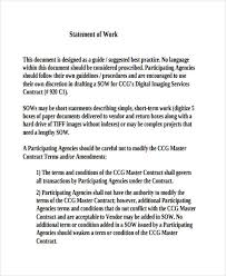 Work Statement Examples Simple Statement Of Work Example Rome Fontanacountryinn Com