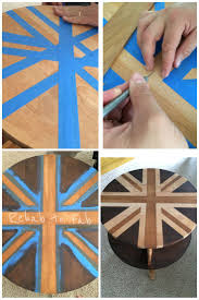 Union Jack painted with 2 different stains by #GeneralFinishes. Gel stain  in Java &