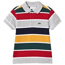 grey red yellow striped pique ribbed polo shirt