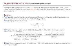 van der waals equation sample exercise 10 1 converting units of pressure ppt