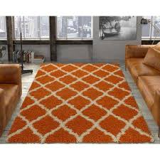 ultimate gy contemporary moroccan trellis design orange 5 ft x 7 ft area rug