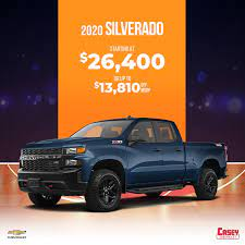 Casey Chevrolet The 2020 Chevy Silverado Is Built Upon Over 100 Years Of History And With It Comes An Available 6 2 Liter V8 Engine That Provides A Best In Class Capability Save Up To