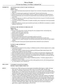 Patient Care Technician Resume Samples Velvet Jobs