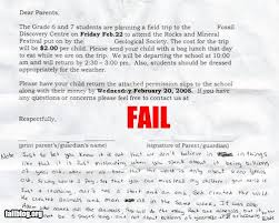 field trip permission slip fail from rednecklandia to the  handwritten